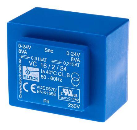 Block 24V ac 2 Output Through Hole PCB Transformer, 16VA