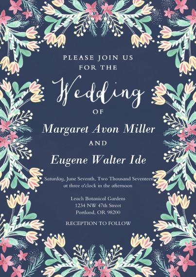 Wedding Invitations 5x7 Cards, Premium Cardstock 120lb with Elegant Corners, Card & Stationery -Folk-art Floral