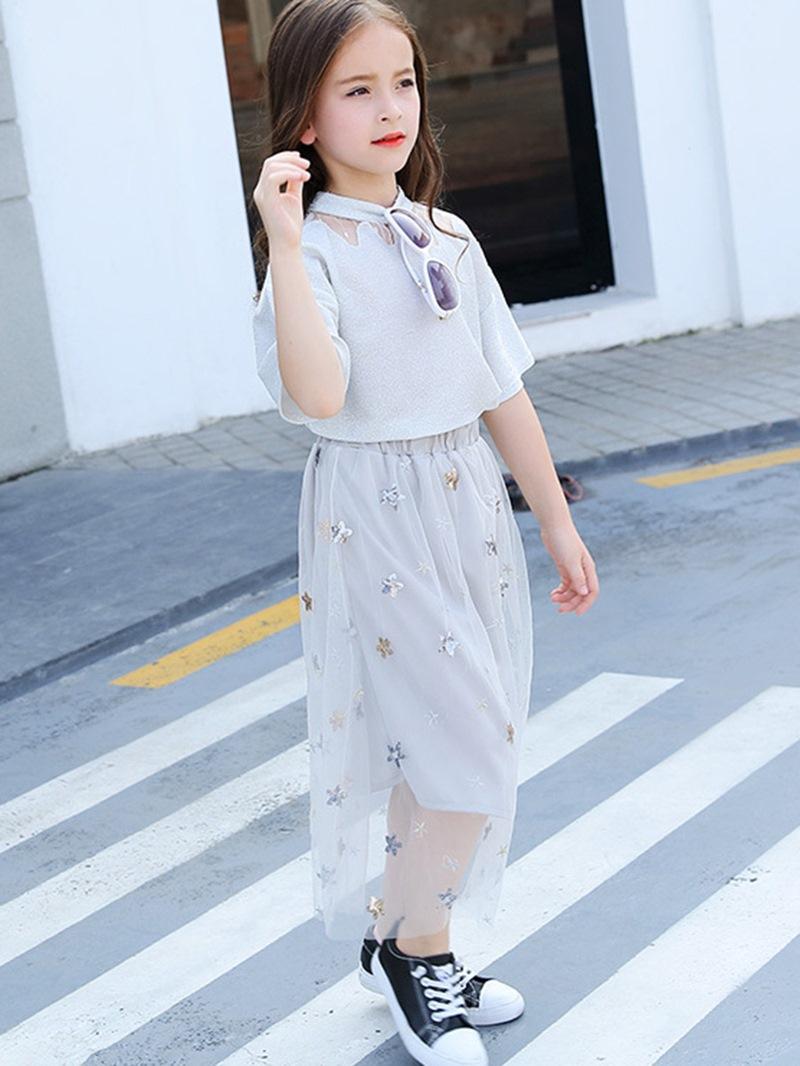 Ericdress Sequins T-shirt & Mesh Skirt Girls' Outfit
