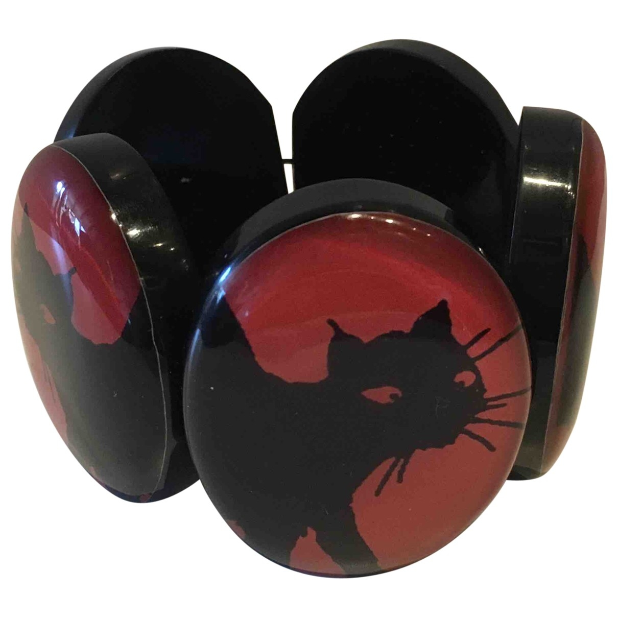 Non Signe / Unsigned Motifs Animaliers Armband in  Rot Metall