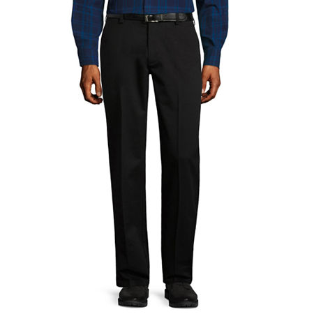 St. John's Bay Stretch Iron Free Expandable Waist Flat Front Pant, 30 30, Black