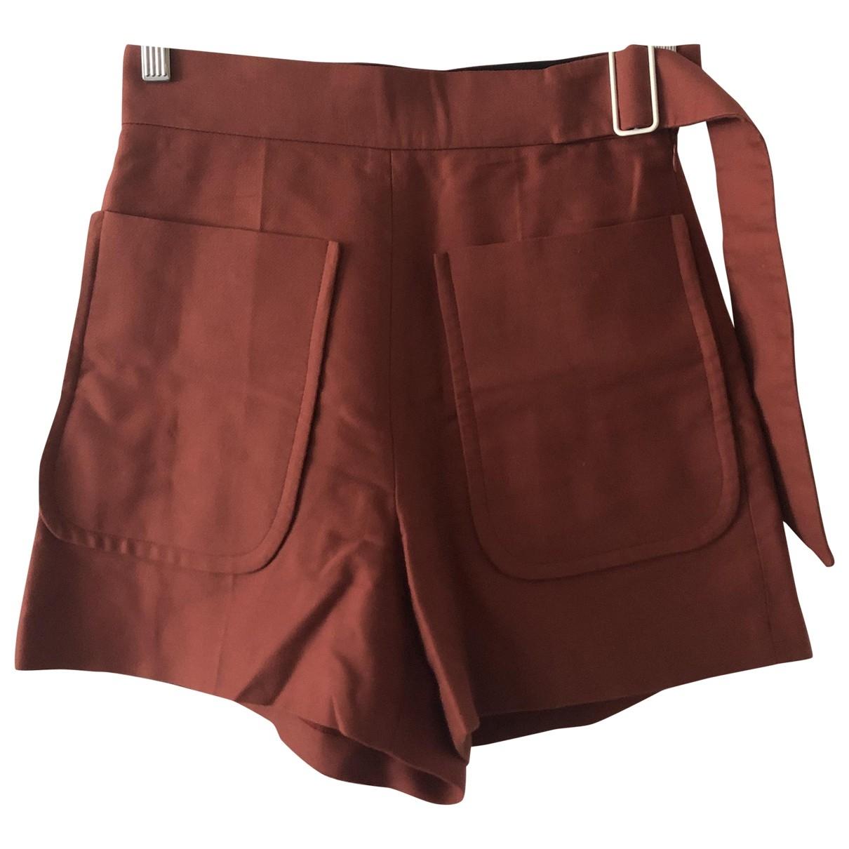 Sandro \N Red Cotton Shorts for Women 36 FR