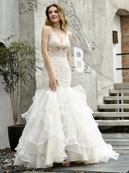 Milanoo Wedding Bridal Gowns Mermaid Sleeveless V Neck Lace Bridal Gowns With Train