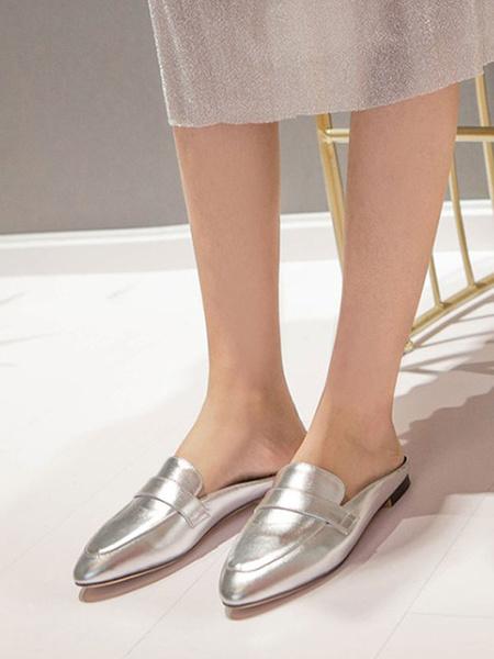 Milanoo Women\'s Mules Clogs PU Leather Light Gold Round Toe Slip-On Mules
