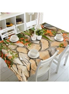Creative Design Stones and Flowers Prints Washable 3D Tablecloth