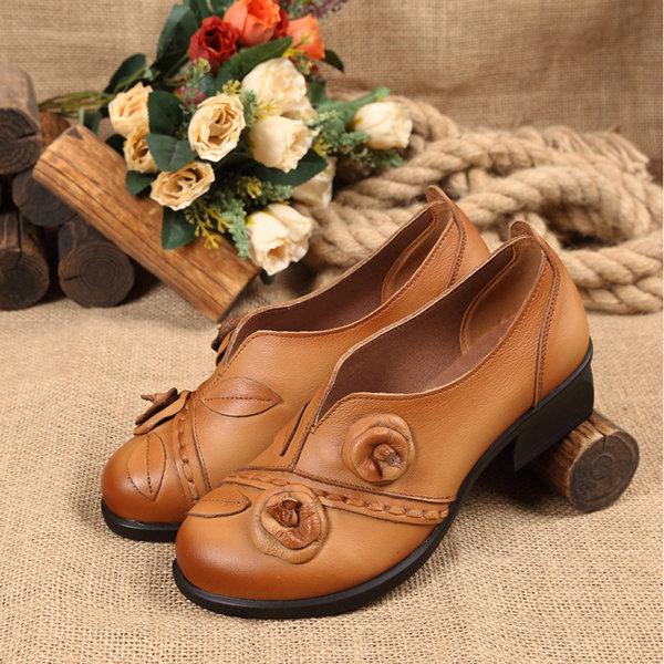 Flower Retro Mid Heel Original Folkways Handmade Shoes