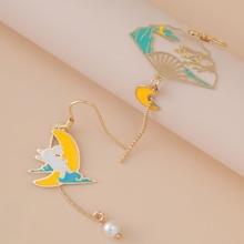 1pair Fan Charm Pearl Decor Drop Earrings