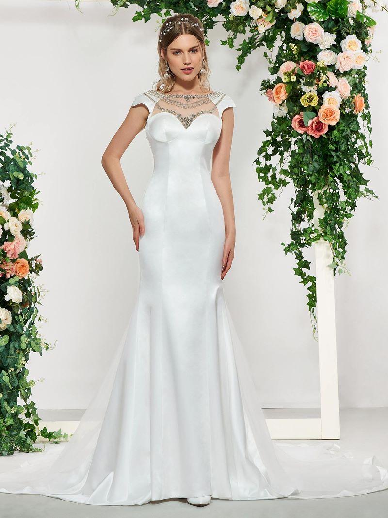 Ericdress Cap Sleeves Beading Church Wedding Dress