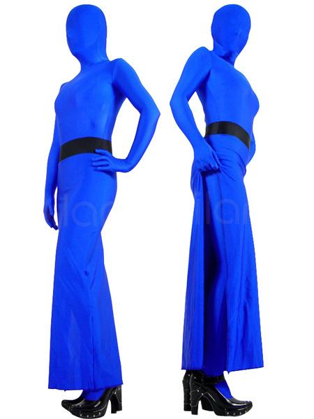 Milanoo Halloween Morph Suit Bright Blue Skirt Style Lycra Spandex Zentai Suit