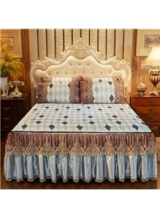 Not easy to Hook European Style Chequered Printed 3-Piece Cotton Lace Bed Skirt Ice Mat Sets