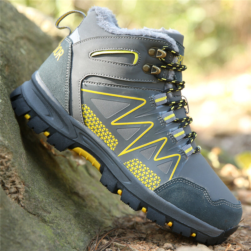 Men Microfiber Leather Outdoor Warm Lining Climbing Hiking Boots