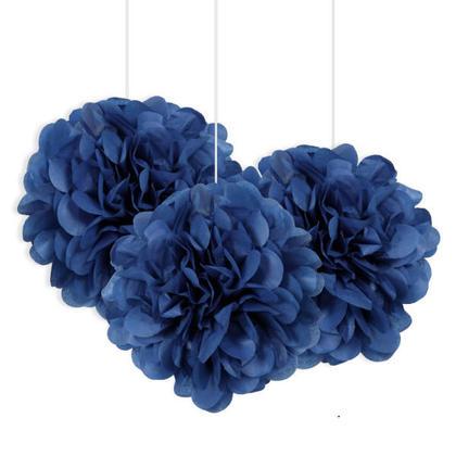 Bleu Royal Mini Bouffée de Tissus Décorations 8'' 3Pcs
