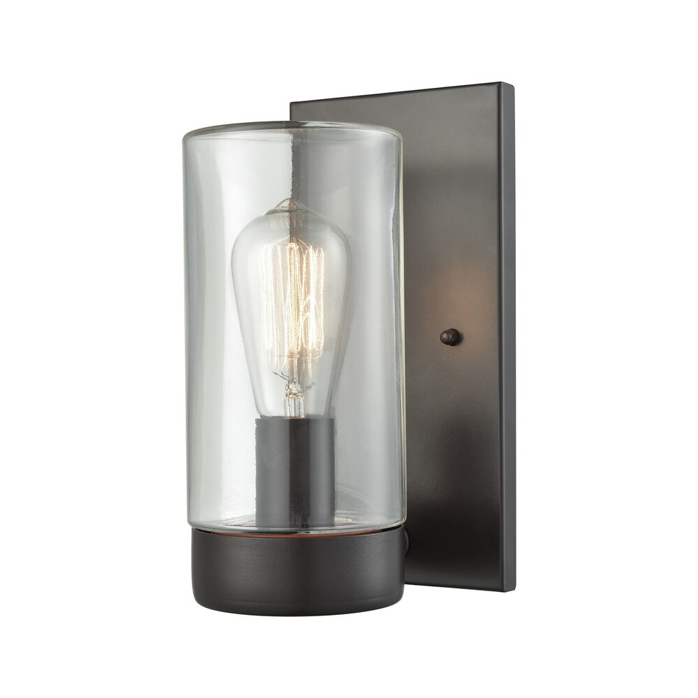 Ambler Oil-rubbed Bronze Metal and Clear Glass 1-light Outdoor Wall Sconce (Sconce)