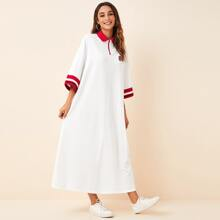 Letter Patched Striped Cuff Polo Dress