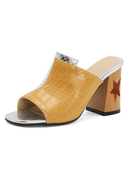Milanoo Zapatos de tacon grueso con estampado de serpiente y mulas de tacon grueso para mujer Zapatos de talla grande
