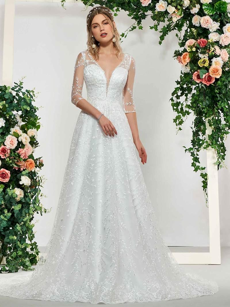 Ericdress Half Sleeves Button Lace Wedding Dress