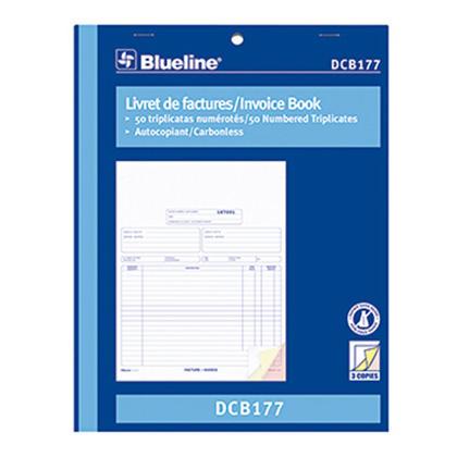 Blueline@ Blank facture livre Carbonless Copy