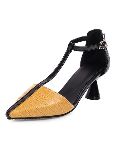 Milanoo Woman\s Low Heels T-bar Pointed Toe Special-Shaped Heel Pumps