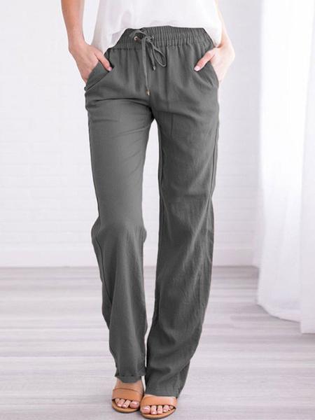 Milanoo Pantalones de mujer Pantalones de poliester de cintura elastica recta con cordon de color caqui