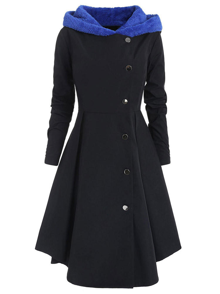 Women Casual Fleece Hooded Long Sleeve Trench Coats