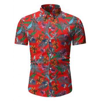 Tropical Floral Print Button Up Short Sleeve Shirt