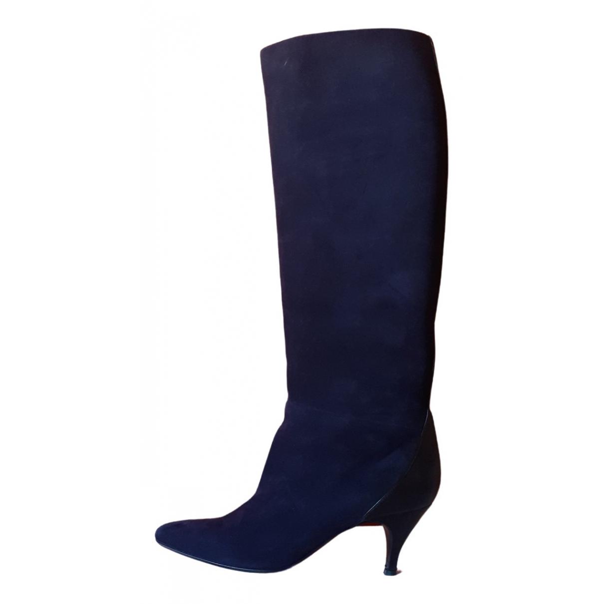 Hermes \N Stiefel in  Blau Veloursleder