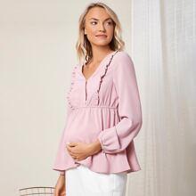 Maternity Top mit Rueschenbesatz und Schosschen