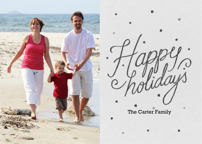 Holiday Photo Cards 5x7 Folded Cards, Standard Cardstock 85lb, Card & Stationery -Happy Holidays Chalk - White