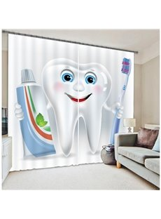 3D Funny Cartoon Tooth Man Printed 2 Panels Childrens Room Blackout Curtain
