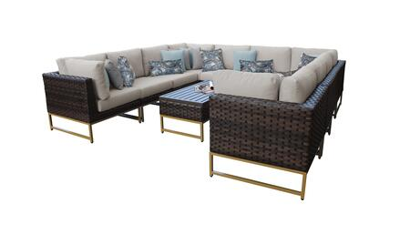 Barcelona BARCELONA-11a-GLD-BEIGE 11-Piece Patio Set 11a with 4 Corner Chairs  6 Armless Chairs and 1 Coffee Table - 2 Beige Covers with Gold