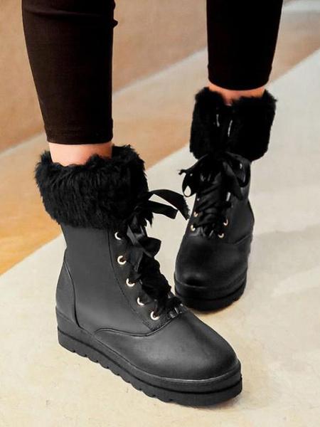 Milanoo Classic Lolita Boots Lace Up Furry Plush PU Lolita Shoes