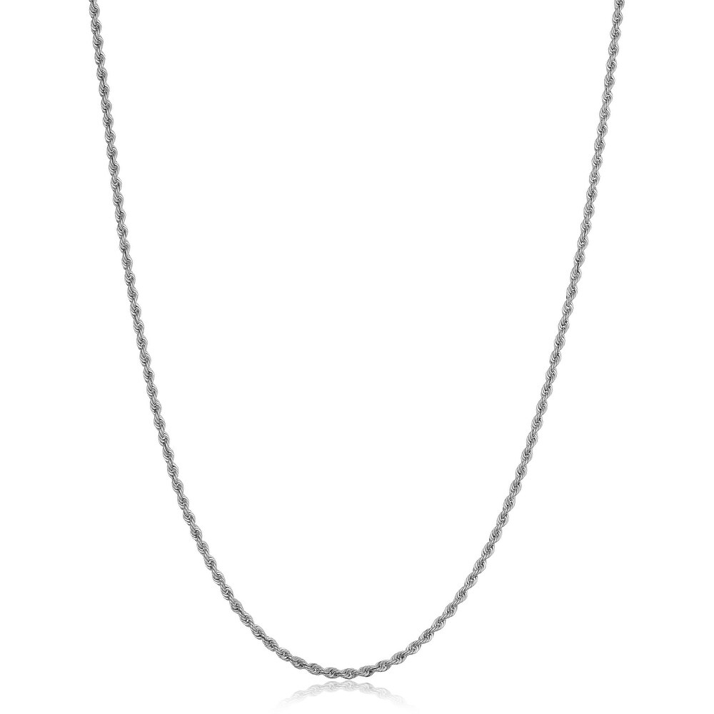 10k White Gold 1.5 millimeter Rope Chain Necklace (18 Inch)