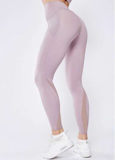 Womens Sportswear Gym Leggings Athletic Sports Leggings Activewear High Waist Mesh Panel Light Purple Elastic Yoga Leggings With Pockets - S