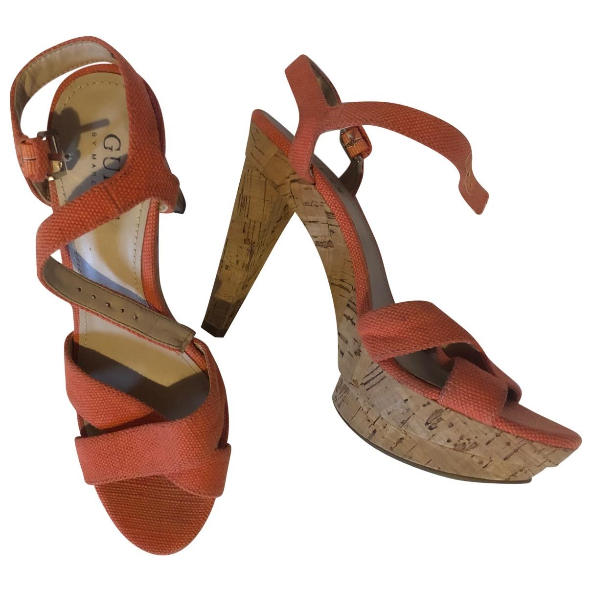 Guess \N Sandalen in  Orange Leinen