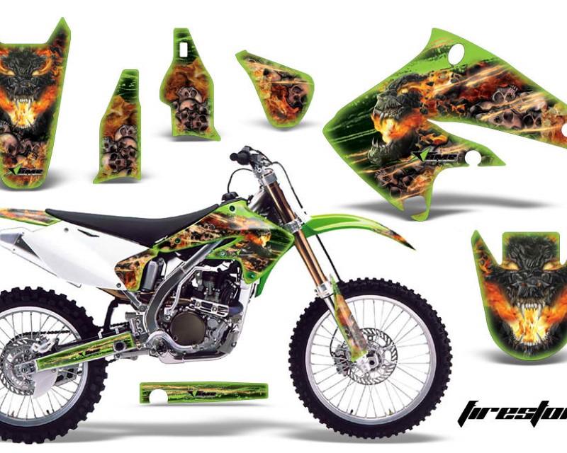 AMR Racing Dirt Bike Graphics Kit Decal Sticker Wrap For Kawasaki KX250F 2004-2005áFIRESTORM GREEN