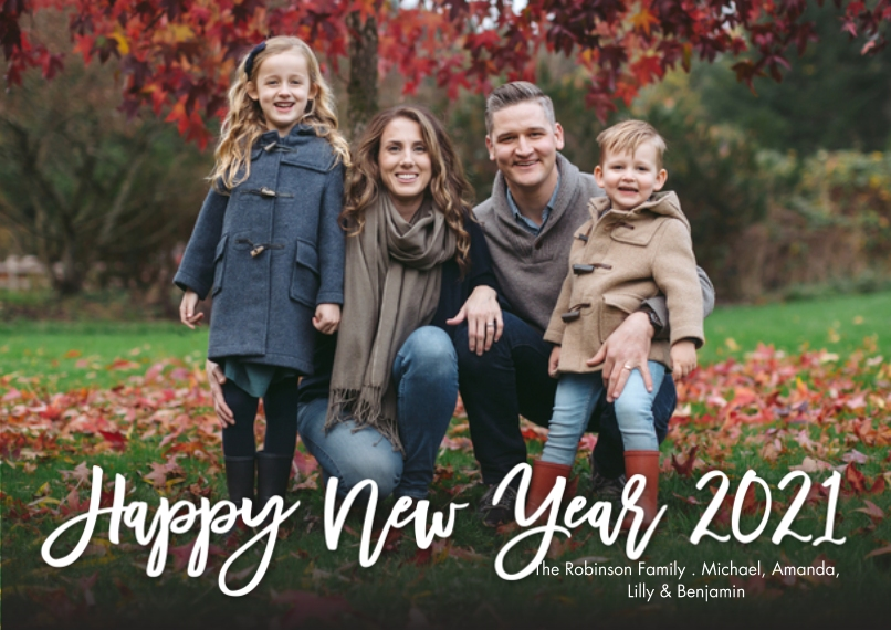 New Year's Photo Cards 5x7 Cards, Standard Cardstock 85lb, Card & Stationery -New Year 2021 Handlettered by Tumbalina