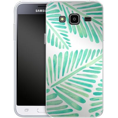 Samsung Galaxy J3 (2016) Silikon Handyhuelle - Banana Leaves Seafoam von Cat Coquillette