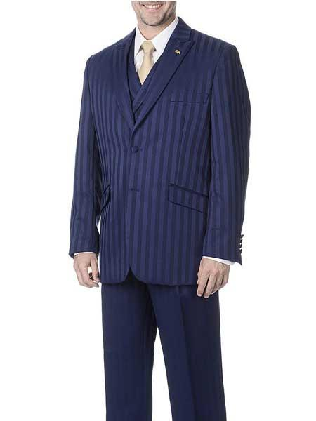 Navy Blue 3 Piece Polyester Peak Lapel Single Breasted Vest Suit