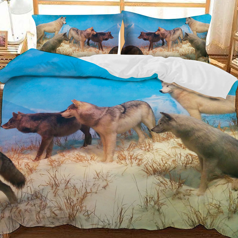The Wolf Of The Prairie In Winter Printed Polyester 3-Piece Bedding Sets/Duvet Covers