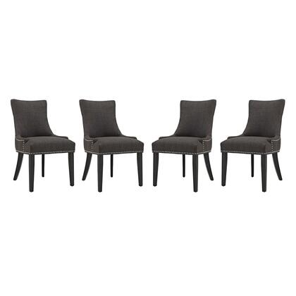 Marquis Collection EEI-3497-BRN Set of 4 Dining Chairs with Black Rubberwood Legs  Studded Nailhead Trim  Dense Foam Padding  Solid Wood Frame and