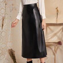 Zip Back PU Leather A-line Skirt