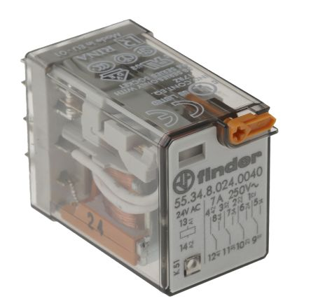 Finder , 24V ac Coil Non-Latching Relay 4PDT, 7A Switching Current Plug In, 4 Pole