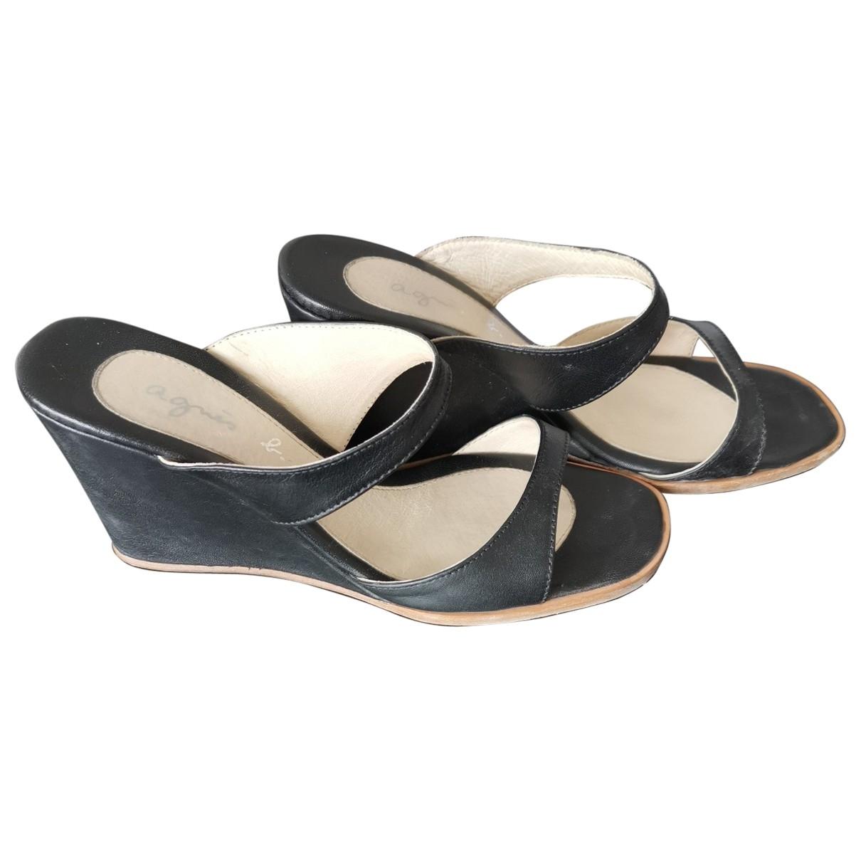 Agnes B. - Sabots   pour femme en cuir - noir