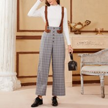 Button Front Plaid Pants With Buckle Strap