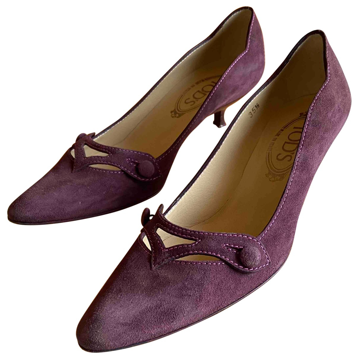 Tod's \N Burgundy Suede Heels for Women 35.5 IT
