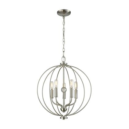 Cn15752 Williamsport 5 Light Chandelier In Brushed Nickel With Clear Glass