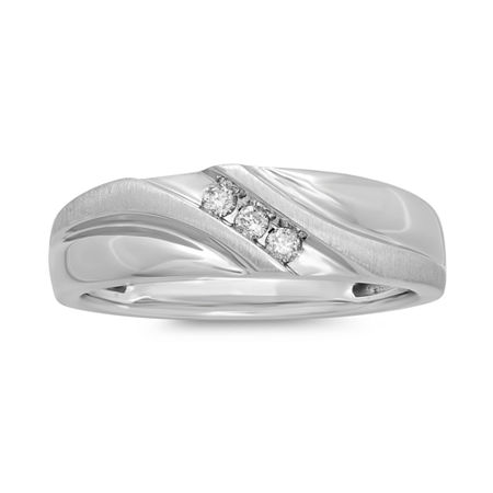 Mens 1/10 CT. T.W. Diamond 10K White Gold 3-Stone Slant Ring, 11 1/2 , No Color Family