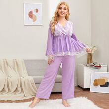 Conjunto de pijama top peplum bajo con encaje con pantalones