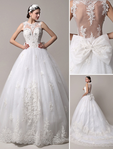 Milanoo Glitter Sheer Back Chapel Train Wedding Gown with Heavily Beaded Bodice