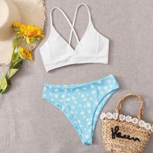 Rib Ditsy Floral Lace-up Bikini Swimsuit